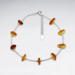 Amber Stone Beads Sterling Silver Bracelet