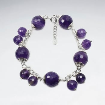 Amethyst Ball Bead Dangle Charm Bracelet