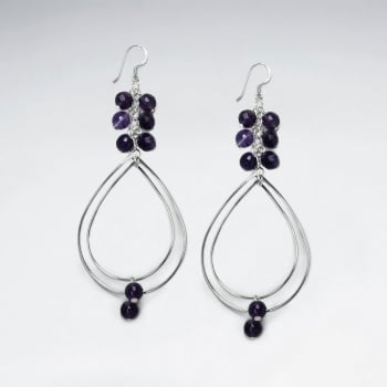 Amethyst Charms and Silver Wirework Teardrop Dangle Earrings