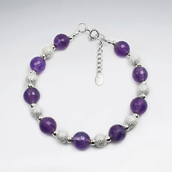 Amethyst & Sterling Silver Bead Ball Clasp Bracelet