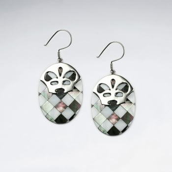 Animal Face Silver Lattice Shell Oval Earrings