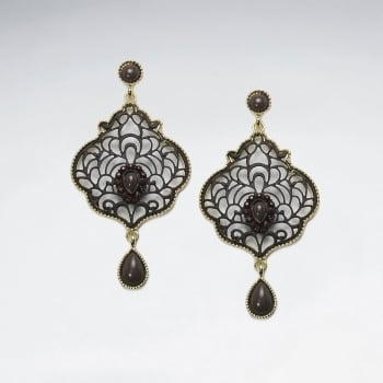 Antique Brass Crystal Stone Openwork Filigree Earrings