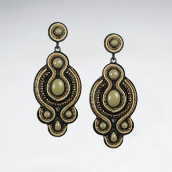 Antiqued Brass Mixed Stone Earrings