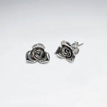 Antiqued Rose Stud Earrings in Sterling Silver