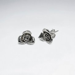 Antiqued Rose Stud Earrings in Sterling Silver