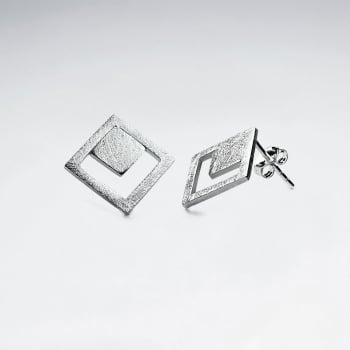 Art Deco Geometric Matte Silver Dimaond-Shaped Stud Earrings