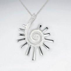 Asterisk Spiral Open Sterling Silver Pendant