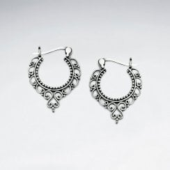 Bali Style Sterling Silver Hoop Earrings