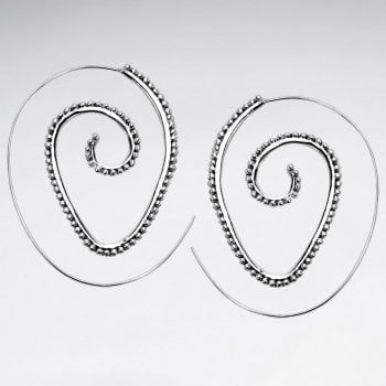 Ball Tipped Open Swirl Hoop Threader Earrings