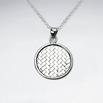 Basket Weave Circle Frame Sterling Silver Pendant