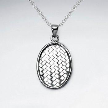 Basket Weave Oval Frame Sterling Silver Pendant
