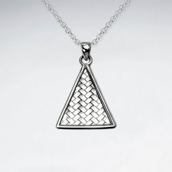 Basket Weave Triangle Frame Sterling Silver Pendant