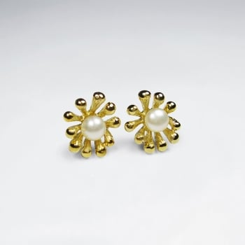 Bead Studded Silver and Pearl Flower Earrings