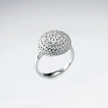 Bead Textured Dome Top Sterling Silver Ring