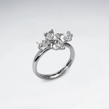 Beautiful Rhodium Plated Cluster Ring in Sterling Silver