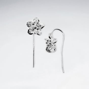 Beautiful Sterling Silver Five Point Detailed Flower Earrings