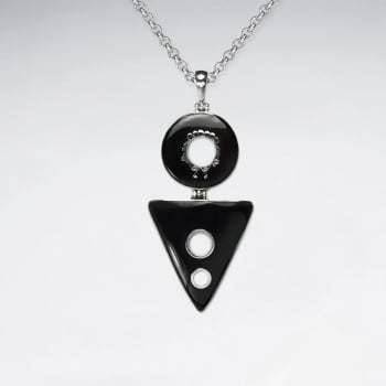 Betting Bang Shell & Sterling Silver Geometric Design Open Shapes Pendant