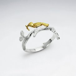 Bird on a Branch Sterling Silver Ring