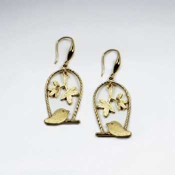 Birdcage Inspired Open Floral Design Drop Earrings