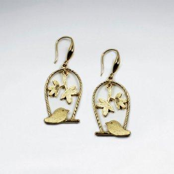 Birdcage Inspired Open Floral Design Drop Earrings