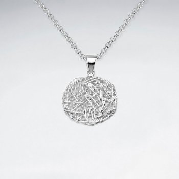 Bird's Nest Circle Pendant in Sterling Silver