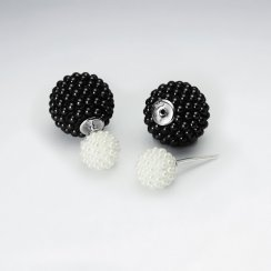 Black And White Synthetic Pearl Mise En Double Sided Stud Earring