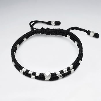 Black Double Corded Waxed Cotton Beaded Studded Wrap Bracelet