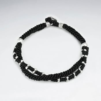 Black Double Strand Waxed Cotton Rope Bracelet