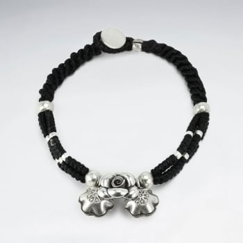 Black Double Waxed Cotton Silver Charms Rope Bracelet