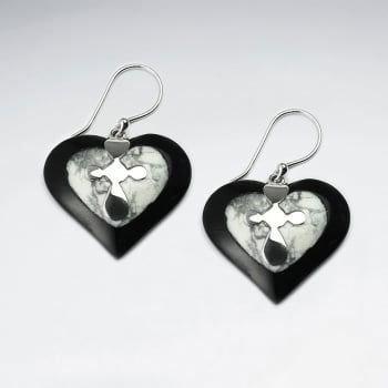 Black Howlite & Silver Heart Dangle Hook Earrings