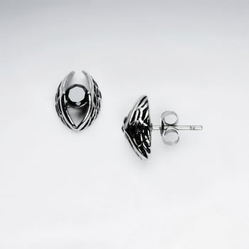 Black Jet Stainless Steel Oxidized Angel Wings Earrings