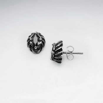 Black Jet Stainless Steel OxidizedOrganic Shapes Earrings
