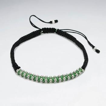 Black Nylon & Green Waxed Cotton Bead Bracelet