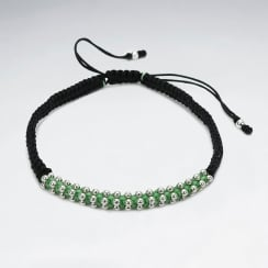 Black Nylon & Green Waxed Cotton Bead Bracelet