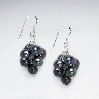 Black Pearl Cluster Silver Earring