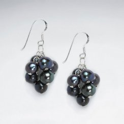 Black Pearl Cluster Silver Earring