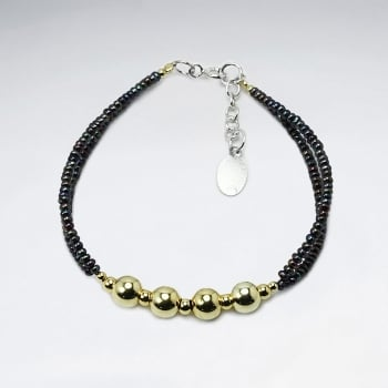 Black Pearl Double Strand Accent Bracelet