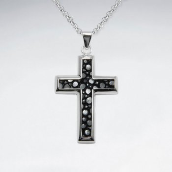 Black Stingray Cross Dangling Silver Pendant
