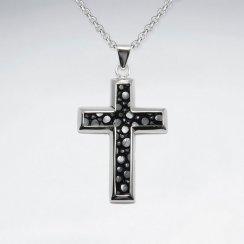 Black Stingray Cross Dangling Silver Pendant