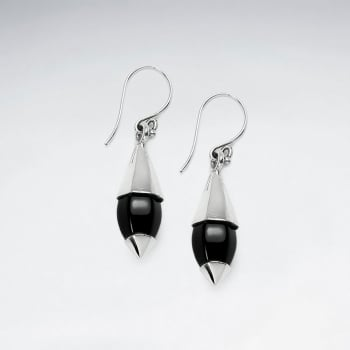 Black Stone and Silver Bullet Shaped Dangle Earrings