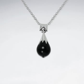 Black Stone and Sterling Silver Dainty Teardrop Pendant