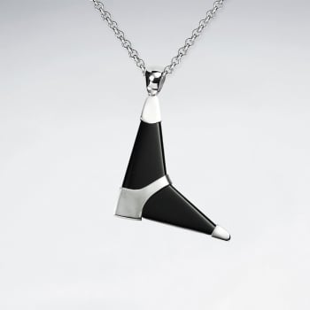Black Stone Arrow Inspired Sterling Silver Accented Pendant