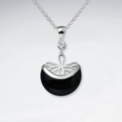 Black Stone Basket Pendant Wiith Silver Flower