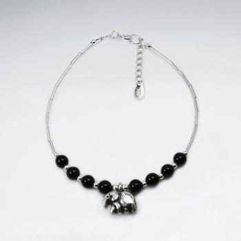 Black Stone Bead & Silver Charm Bracelet