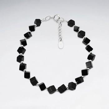 Black Stone Block Bead Bracelet