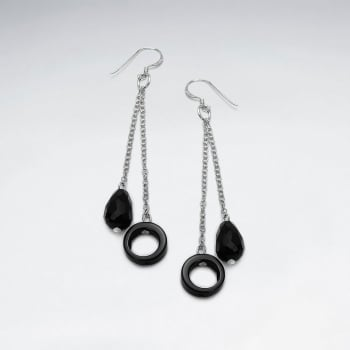 Black Stone Charm Dangle Chain Chime Earrings