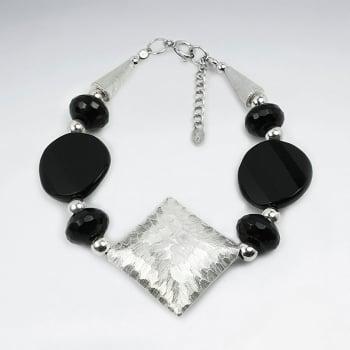 Black Stone Chunky Charm Sterling Silver Bracelet