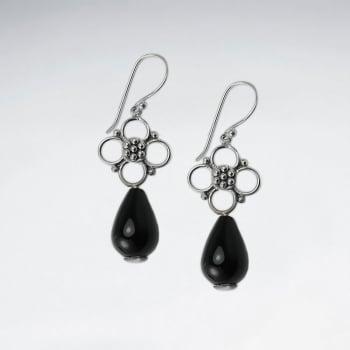 Black Stone Dangle Drop Openwork Silver Flower Earrings