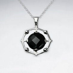 Black Stone Disk With Silver Pendant