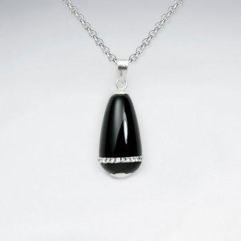 Black Stone Drop Pendant With White CZ Stripe